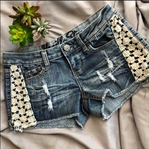Vanilla Star Denim Shorts with Lace Inset 1